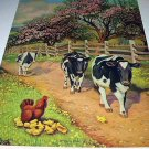 Docile Black/White Farm COWS-BLOSSOM TIME Lithograph