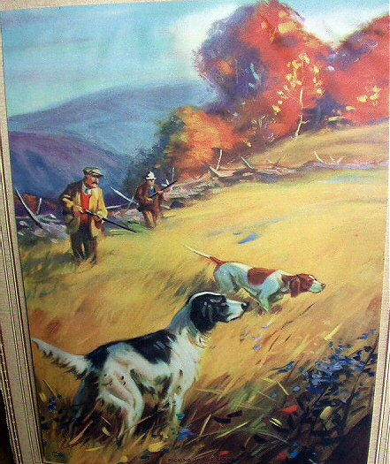 GREAT CABIN ART LITHTHOGRAPH PRINT-PICKING UP THE SCENT-HUNTING DOGS