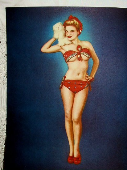 Sexy Classic Vintage Lithograph Pin-Up Beauty In Red Bikini-PUPPY LOVE