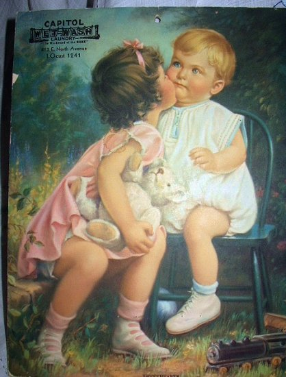 SWEET! TWO BABIES KISSING-ORIGINAL VINTAGE LITHOGRAPH PRINT