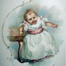 Sweet Baby,Little Girl Walking Antique Chromolithograph Print