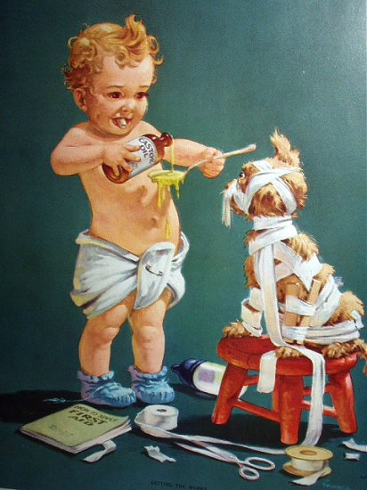 STUART Lithograph-GETTING THE WORKS,Cute Baby Doctor
