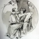Wonderful Antique Print-Loving Mother Hold Baby Girl,Sitting Under Tree