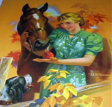 THE REWARD-LADY FEEDING APPLE TO HORSE,DOG NEARBY LITHOGRAPH