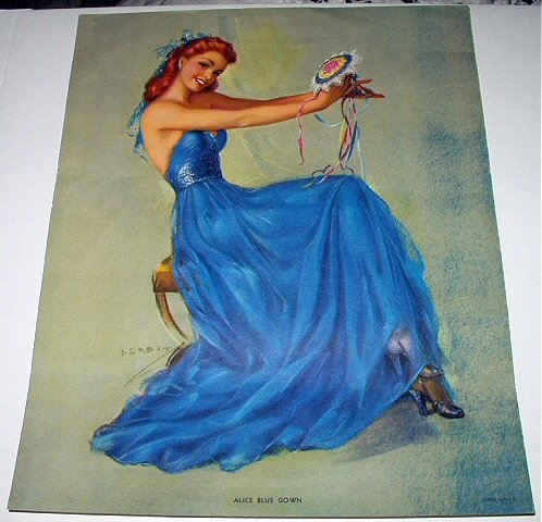 STUNNING J. ERBIT-ALICE BLUE GOWN-Lovely Lady Dressed In Blue Vintage Lithograph Print