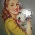Happy Terrier Dog Hugged By Lovely Beauty-J.ERBIT-Vintage Lithograph Print