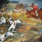 FOX HUNTING-Charles Hunt-Colorful Hunting Scene with Dogs MINT