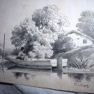 Antique Print-HUBERT-Man Fishing In Rowboat