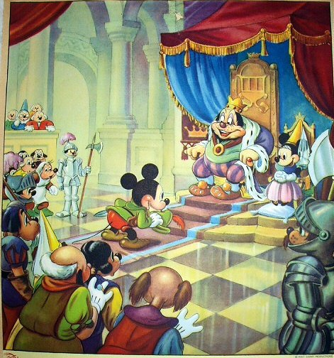 DISNEY-BRAVE LITTLE TAILOR- Vintage Lithograph-Mickey Mouse Before King