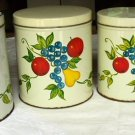 GREAT SET OF 4 VINTAGE METAL CANISTERS - FRUIT DESIGN