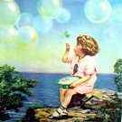 Blowing Bubbles at Oceanside VINTAGE LITHOGRAPH PRINT