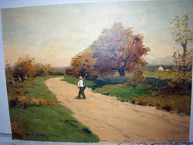 1894 INDIAN SUMMER Chromolithograph -Trees Autumn Colors Man Going Fishing