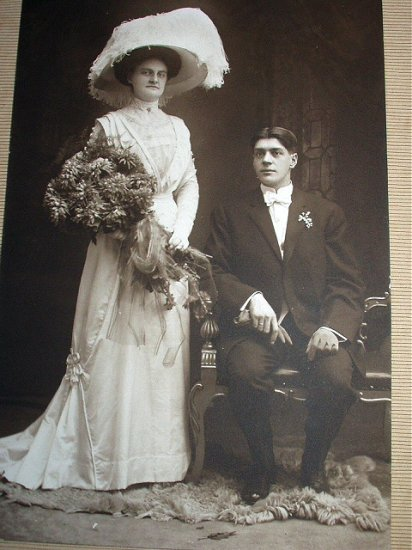 Early1900s Photograph Studio Picture-Victorian Bride and Groom
