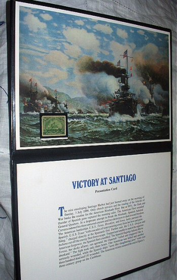 COMMEMORATIVE VICTORY AT SANTIAGO WITH ORIGINAL 1898- 1/8 CENT STAMP