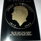 RARE-1960s JOHN F. KENNEDY COMMEMORATIVE METAL DECAL
