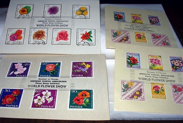 LOT 4 SOUVENIR CHICAGO WORLD FLOWER STAMP EXHIBITION