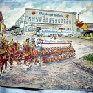 1957 SIGNED POSTCARD-WURZBURGER HOFBRAU-HORSES,BEER BARRELS
