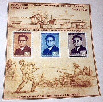 RARE/UNIQUE COMMEMORATIVE-1947 OEMAL STAFA,ALBANIA