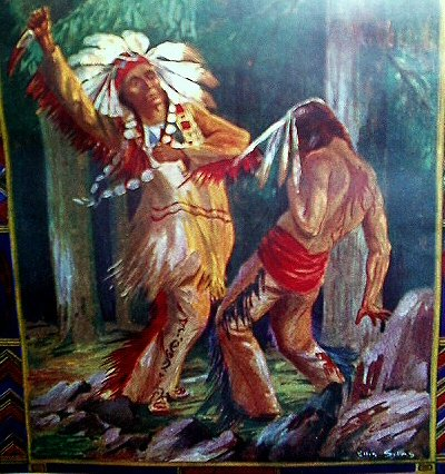 1940s Lithograph-ELLIS SILAS-Savage Indian Battle