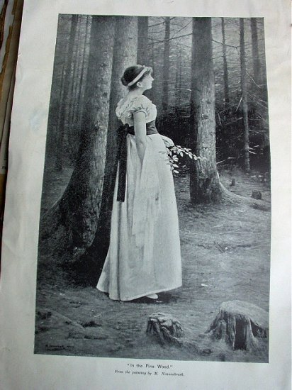 Antique Bookplate-IN THE PINEWOOD,M.Nonnenbruch