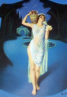 ART DECO GODDESS OF BEAUTY CARRYING URN PRINT