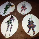 4 Unique Antique Handpainted CLOWNS-Signed by Artist-RARE,UNIQUE ARTWORK-