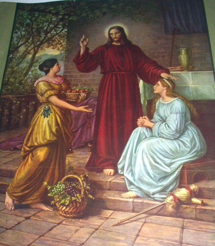 Wonderful Vintage Print-CHRIST with MARY and MARTHA-DIETRICH
