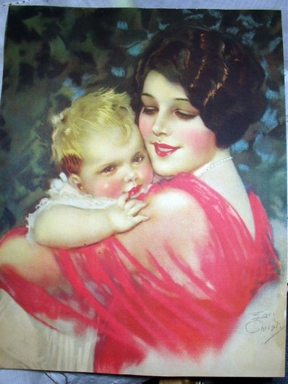STUNNING EARL CHRISTY LITHO-ART DECO MOM,BABY