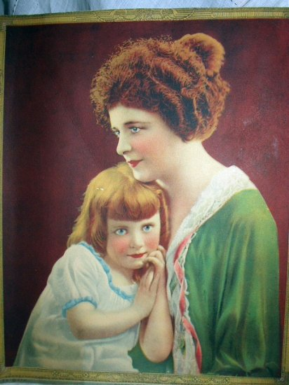 DADDY'S TREASURES- Beautiful Vintage Calendar Art Lithograph,Mother and Child