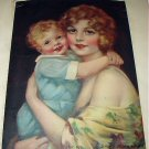 J.KNOWLES HARE Lithograph-MY BOY-Sweet Baby Boy Hugs Mother