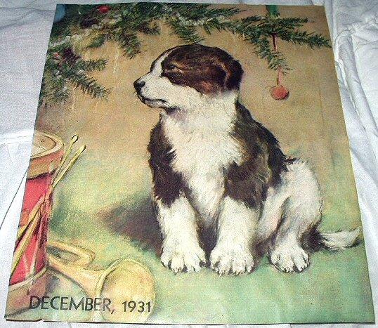 1931 Magazine Cover Artwork-Sweet Puppy Under Christmas Tree