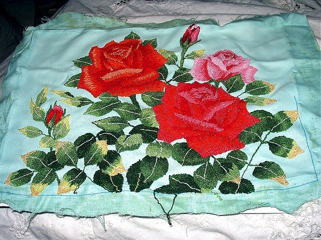 Lovely Vintage Embroidered ROSES Fabric,Pillow Cover,Wall Decor