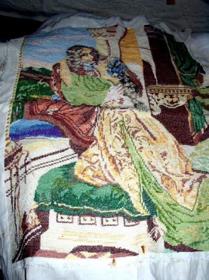 Exquisite Needlepoint VICTORIAN LOVERS-LARGE Handmade Antique