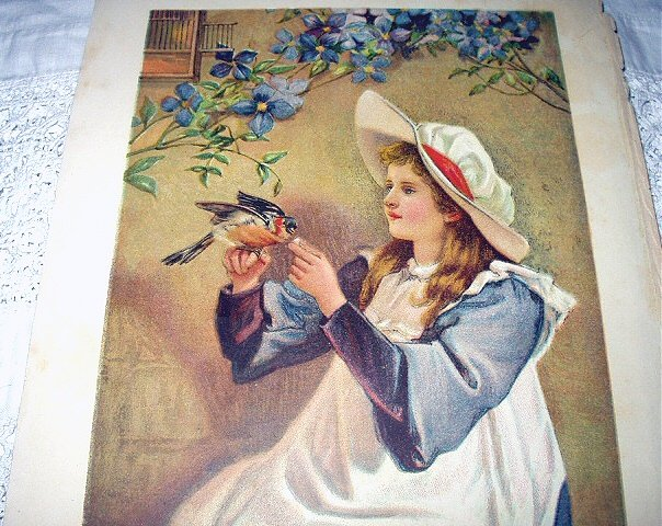 Victorian Girl in Night Cap Feeding Robin-Antique Chromolithograph