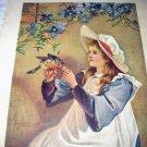Victorian Girl in Night Cap Feeding Robin-Antique Chromolithograph