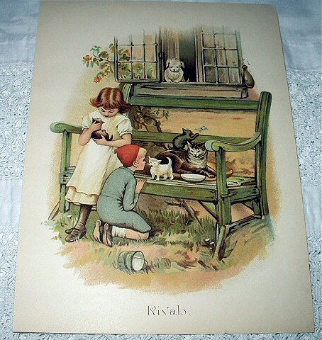Rivals-Sweet Baby Kittens with Mother,Children and Puppy Dog Print