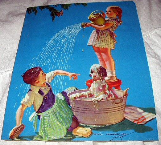 1948 R.JAMES STUART Vintage Print-DOGGONE YOU!Children Bathing Dog