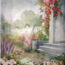 Lovely Large Vintage Lithograph Print -THE SHOWER-Doughty-Cottage Flower Garden