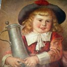 Vintage Print-Blonde Haired Girl Holding Drink Tankard-E.LOUYET