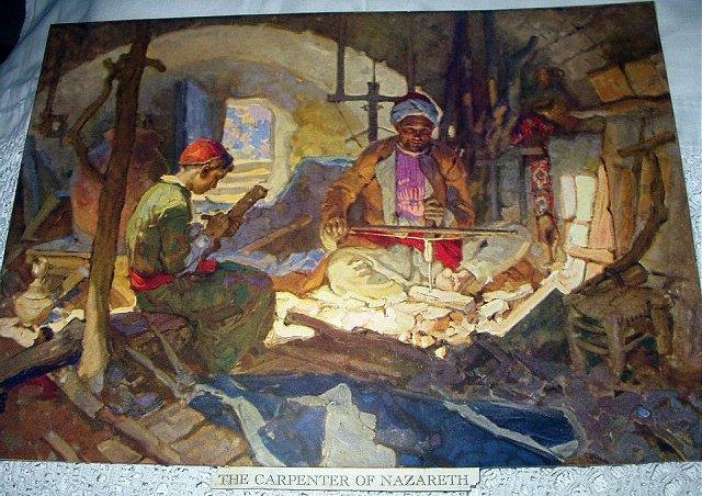 Vibrant Colored Lithograph Print-THE CARPENTER OF NAZARETH
