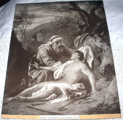 Vintage Lithograph Print-THE GOOD SAMARITAN-Sepia Toned