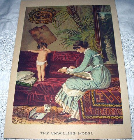 Stunning Antique Chromolithograph Print-THE UNWILLING MODEL-Mother Painting Portrait of Baby