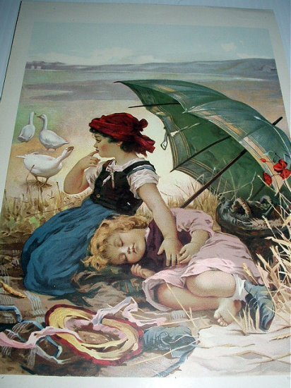 TWO IN THE SHADE-Antique Chromolithograph Print-Two Girls Under Umbrella