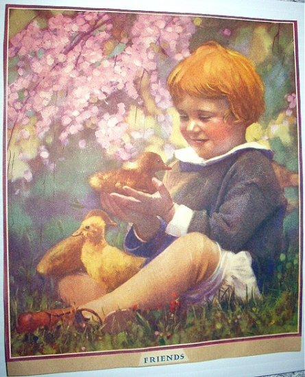 Little Girl with her Pet Ducks-FRIENDS- Vintage Illustration