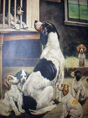 BREAKING HOME TIES-Cute Vintage Print-Mother Dog with 6 new Puppies Saying Goodbye