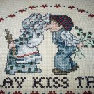 Vintage Cross-Stitched Fabric-KISS THE COOK-Great to Frame