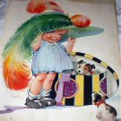 Large C.TWELVETREES Magazine Cover Art Print-Girl Trying on Hat with Feather