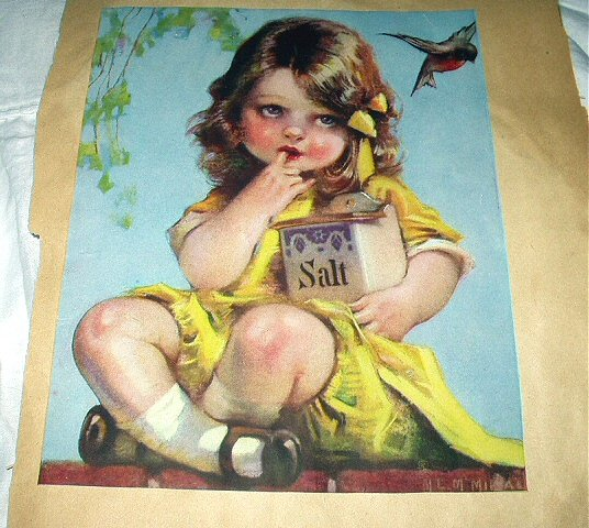 Sweet Little Girl Dressed In Yellow-Vintage Artwork Illustration