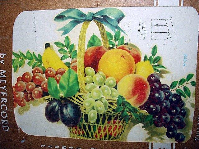 UNUSED VINTAGE MEYERCORD DECAL #840-A,Basket Full of FRUIT