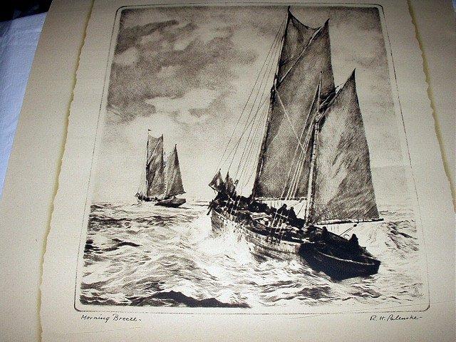 RARE-R.H.PALENSKE-MORNING BREEZE-Lithograph Sepia Print-Two Large Clipper Ships